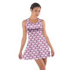 Scales3 White Marble & Pink Denim (r) Cotton Racerback Dress by trendistuff