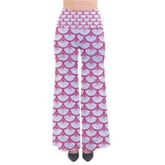 SCALES3 WHITE MARBLE & PINK DENIM (R) So Vintage Palazzo Pants
