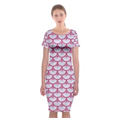 SCALES3 WHITE MARBLE & PINK DENIM (R) Classic Short Sleeve Midi Dress