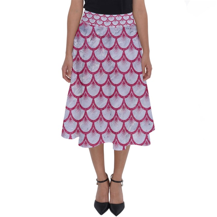 SCALES3 WHITE MARBLE & PINK DENIM (R) Perfect Length Midi Skirt