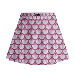Scales3 White Marble & Pink Denim (r) Mini Flare Skirt