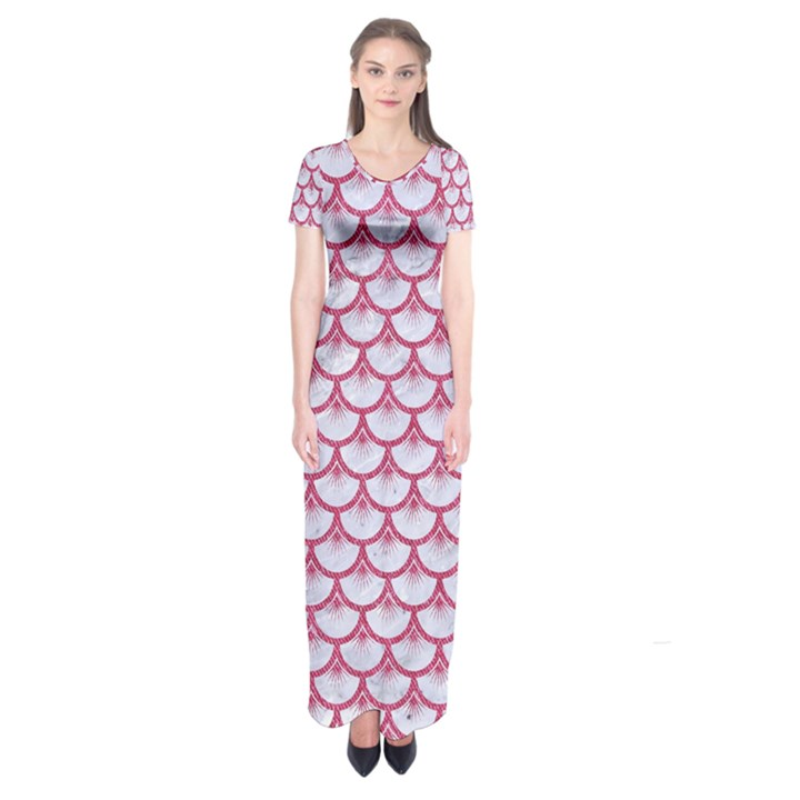 SCALES3 WHITE MARBLE & PINK DENIM (R) Short Sleeve Maxi Dress