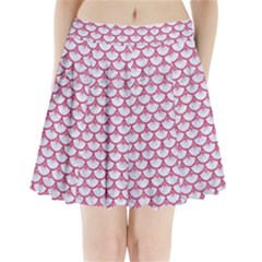 Scales3 White Marble & Pink Denim (r) Pleated Mini Skirt