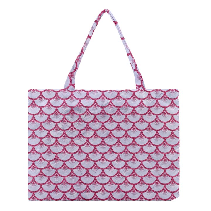 SCALES3 WHITE MARBLE & PINK DENIM (R) Medium Tote Bag