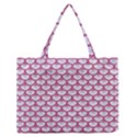 SCALES3 WHITE MARBLE & PINK DENIM (R) Zipper Medium Tote Bag View1