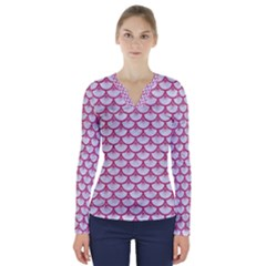 SCALES3 WHITE MARBLE & PINK DENIM (R) V-Neck Long Sleeve Top