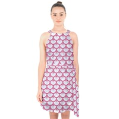 Scales3 White Marble & Pink Denim (r) Halter Collar Waist Tie Chiffon Dress