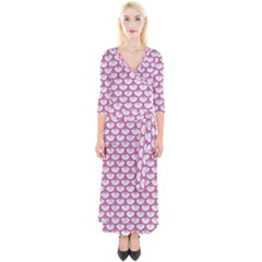 SCALES3 WHITE MARBLE & PINK DENIM (R) Quarter Sleeve Wrap Maxi Dress