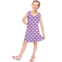 Scales3 White Marble & Pink Denim (r) Kids  Tunic Dress