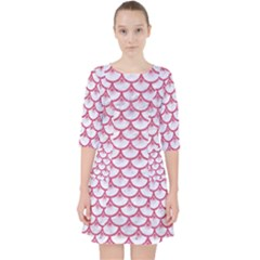 SCALES3 WHITE MARBLE & PINK DENIM (R) Pocket Dress