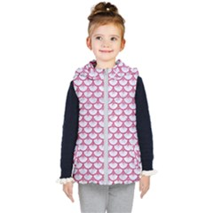 SCALES3 WHITE MARBLE & PINK DENIM (R) Kid s Hooded Puffer Vest