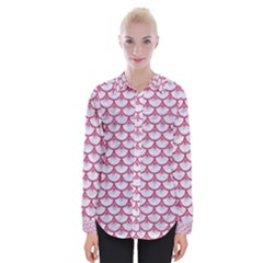 SCALES3 WHITE MARBLE & PINK DENIM (R) Womens Long Sleeve Shirt