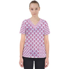 SCALES3 WHITE MARBLE & PINK DENIM (R) Scrub Top