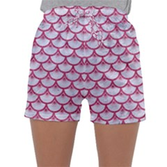 Scales3 White Marble & Pink Denim (r) Sleepwear Shorts