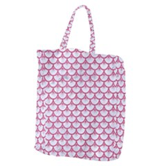 Scales3 White Marble & Pink Denim (r) Giant Grocery Zipper Tote by trendistuff