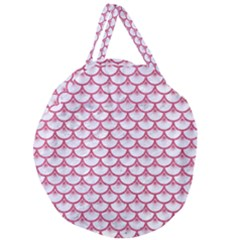 Scales3 White Marble & Pink Denim (r) Giant Round Zipper Tote by trendistuff