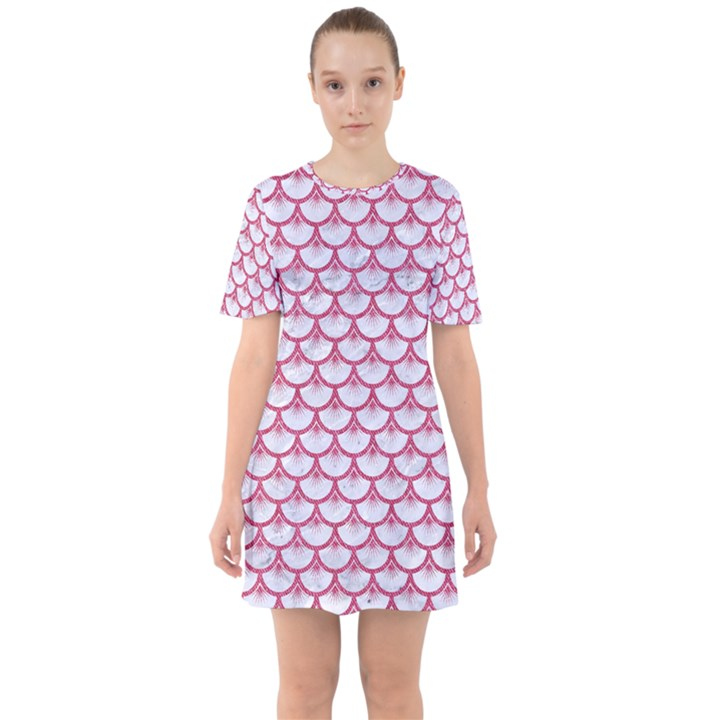 SCALES3 WHITE MARBLE & PINK DENIM (R) Sixties Short Sleeve Mini Dress