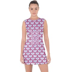 SCALES3 WHITE MARBLE & PINK DENIM (R) Lace Up Front Bodycon Dress