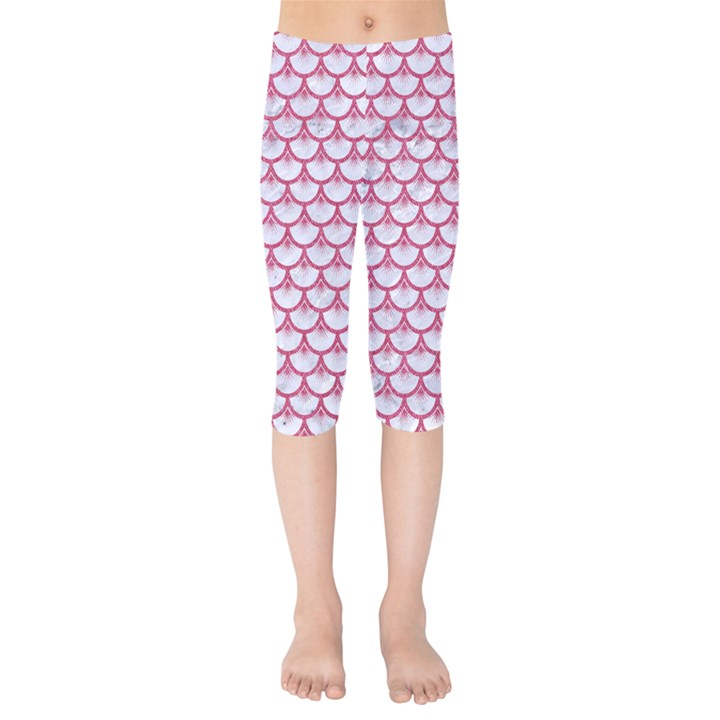 SCALES3 WHITE MARBLE & PINK DENIM (R) Kids  Capri Leggings