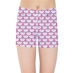SCALES3 WHITE MARBLE & PINK DENIM (R) Kids Sports Shorts