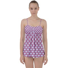 Scales3 White Marble & Pink Denim (r) Babydoll Tankini Set by trendistuff