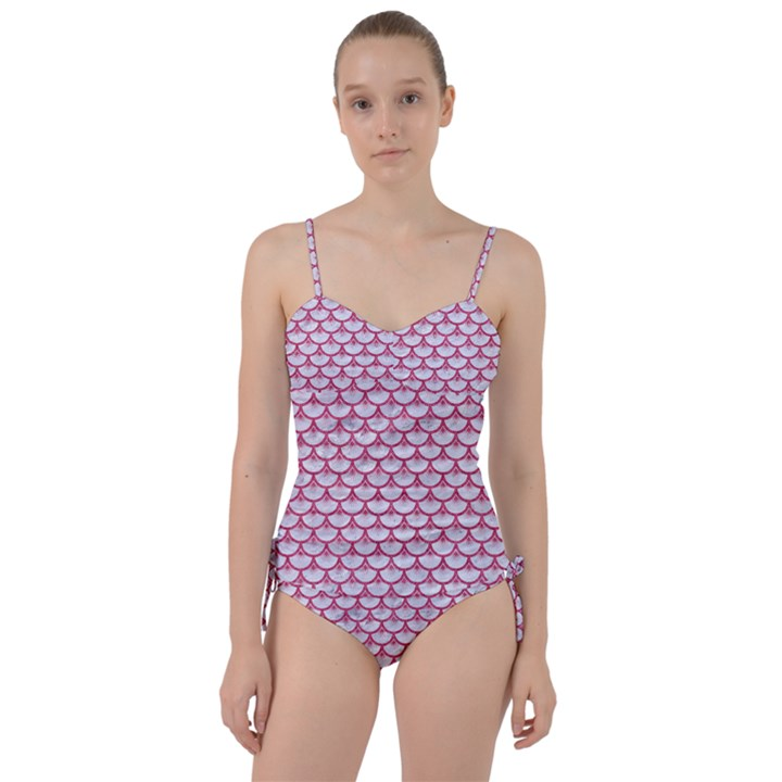 SCALES3 WHITE MARBLE & PINK DENIM (R) Sweetheart Tankini Set