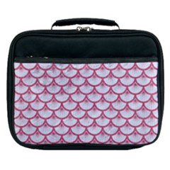 SCALES3 WHITE MARBLE & PINK DENIM (R) Lunch Bag