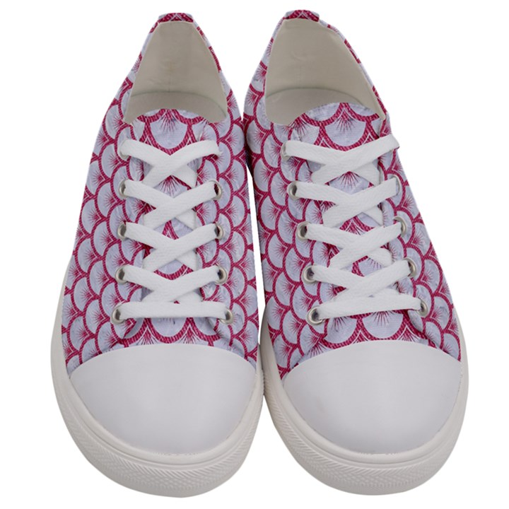 SCALES3 WHITE MARBLE & PINK DENIM (R) Women s Low Top Canvas Sneakers