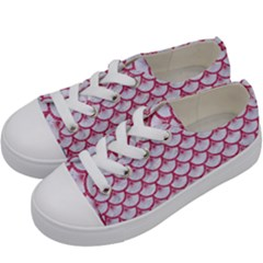 SCALES3 WHITE MARBLE & PINK DENIM (R) Kids  Low Top Canvas Sneakers