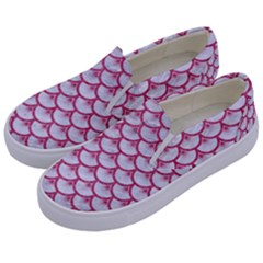 SCALES3 WHITE MARBLE & PINK DENIM (R) Kids  Canvas Slip Ons