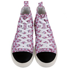 Scales3 White Marble & Pink Denim (r) Men s Mid Top Canvas Sneakers