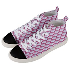 SCALES3 WHITE MARBLE & PINK DENIM (R) Men s Mid-Top Canvas Sneakers