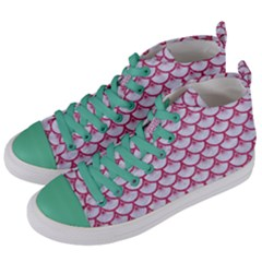 SCALES3 WHITE MARBLE & PINK DENIM (R) Women s Mid-Top Canvas Sneakers
