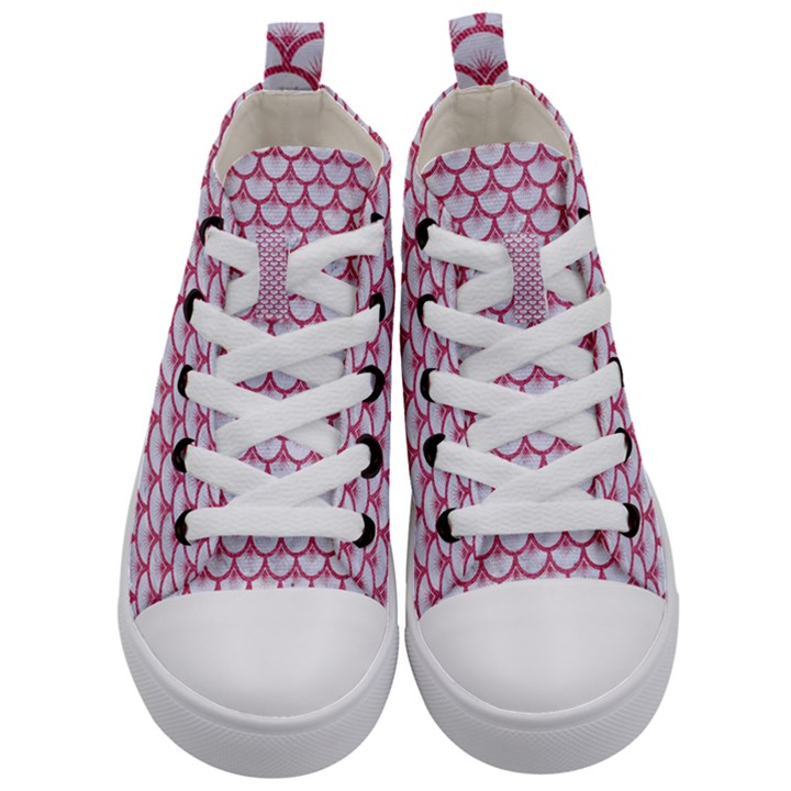 SCALES3 WHITE MARBLE & PINK DENIM (R) Kid s Mid-Top Canvas Sneakers
