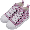 SCALES3 WHITE MARBLE & PINK DENIM (R) Kid s Mid-Top Canvas Sneakers View2