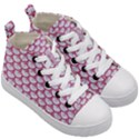 SCALES3 WHITE MARBLE & PINK DENIM (R) Kid s Mid-Top Canvas Sneakers View3