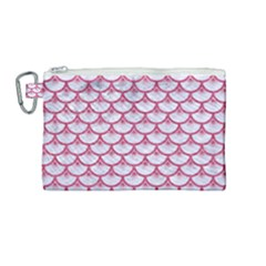 Scales3 White Marble & Pink Denim (r) Canvas Cosmetic Bag (medium) by trendistuff