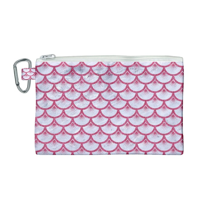 SCALES3 WHITE MARBLE & PINK DENIM (R) Canvas Cosmetic Bag (Medium)