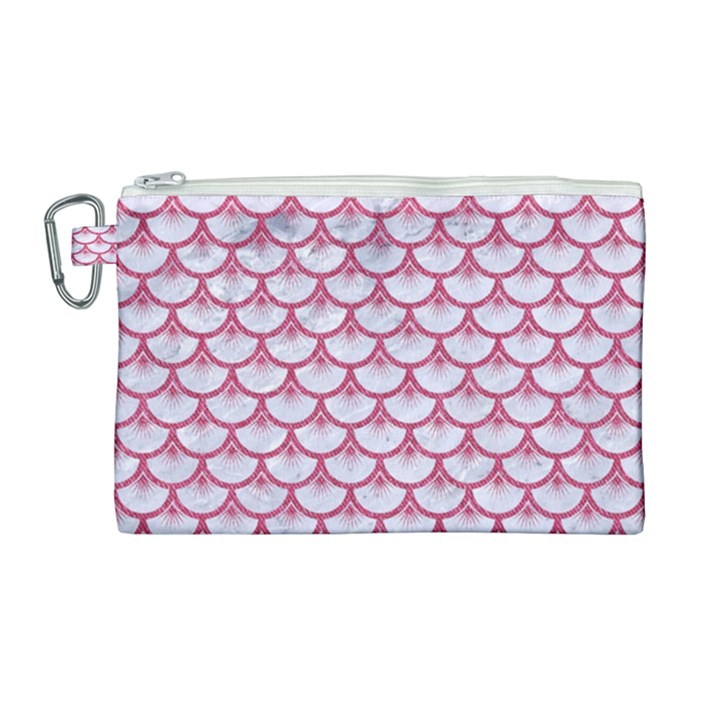 SCALES3 WHITE MARBLE & PINK DENIM (R) Canvas Cosmetic Bag (Large)