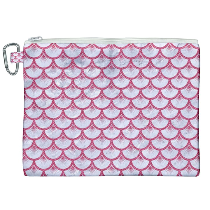 SCALES3 WHITE MARBLE & PINK DENIM (R) Canvas Cosmetic Bag (XXL)