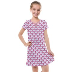 Scales3 White Marble & Pink Denim (r) Kids  Cross Web Dress