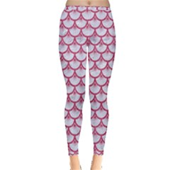 Scales3 White Marble & Pink Denim (r) Inside Out Leggings
