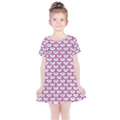 Scales3 White Marble & Pink Denim (r) Kids  Simple Cotton Dress
