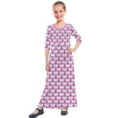 SCALES3 WHITE MARBLE & PINK DENIM (R) Kids  Quarter Sleeve Maxi Dress