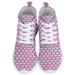 SCALES3 WHITE MARBLE & PINK DENIM (R) Women s Lightweight High Top Sneakers