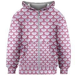 Scales3 White Marble & Pink Denim (r) Kids Zipper Hoodie Without Drawstring by trendistuff