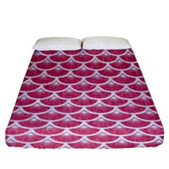 Scales3 White Marble & Pink Denim Fitted Sheet (king Size)