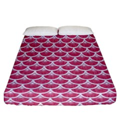 Scales3 White Marble & Pink Denim Fitted Sheet (california King Size)