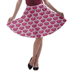Scales3 White Marble & Pink Denim A Line Skater Skirt