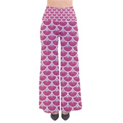 Scales3 White Marble & Pink Denim So Vintage Palazzo Pants